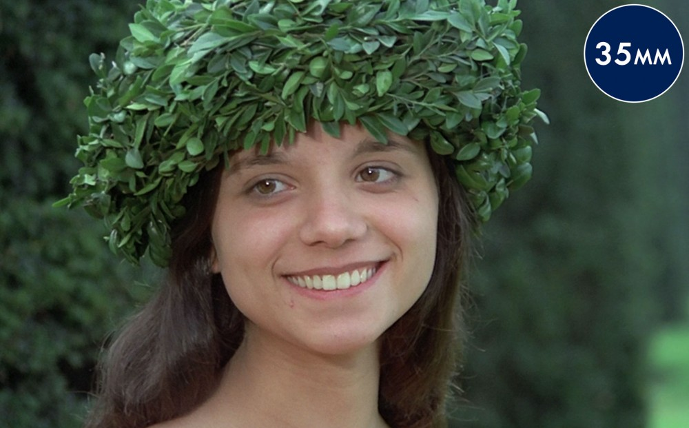 A smiling woman wears a garland made of green leaves.