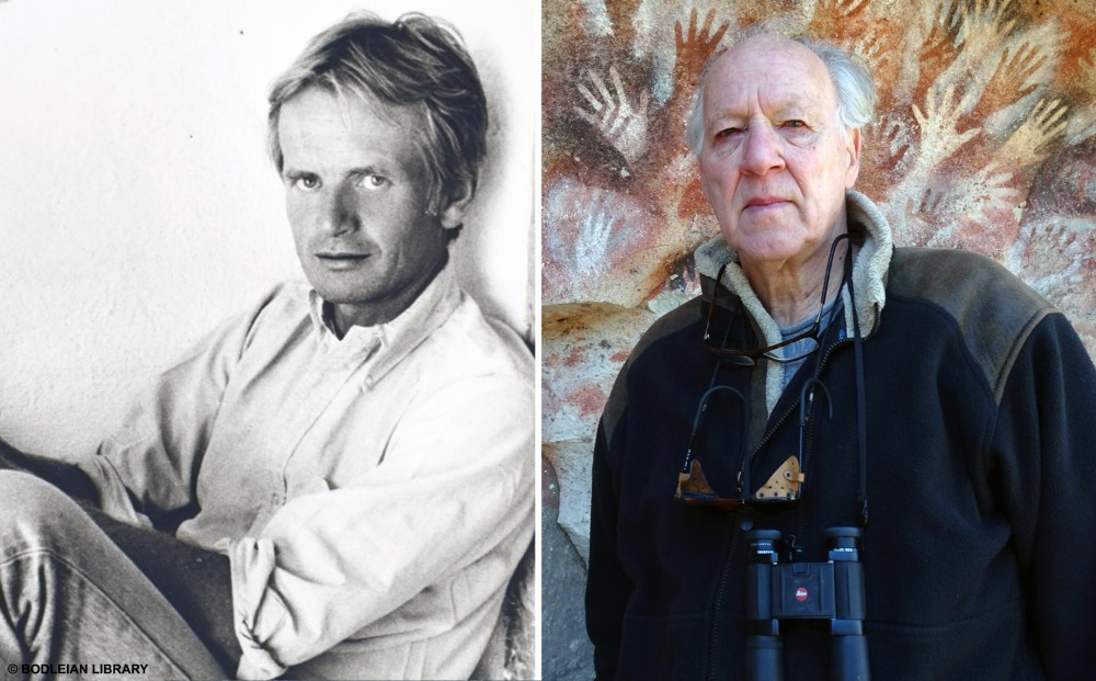 Images of Bruce Chatwin and Werner Herzog, side by side.