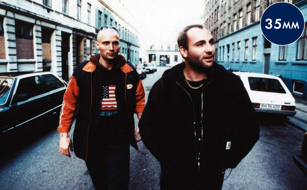 Actors Kim Bodnia and Mads Mikkelsen walk in the streets of Copenhagen.