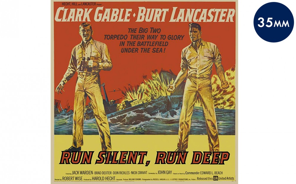 Movie poster for RUN SILENT, RUN DEEP, featuring illustrations of Clark Cable and Burt Lancaster.