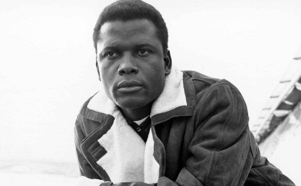 Black and white image of Sidney Poitier.