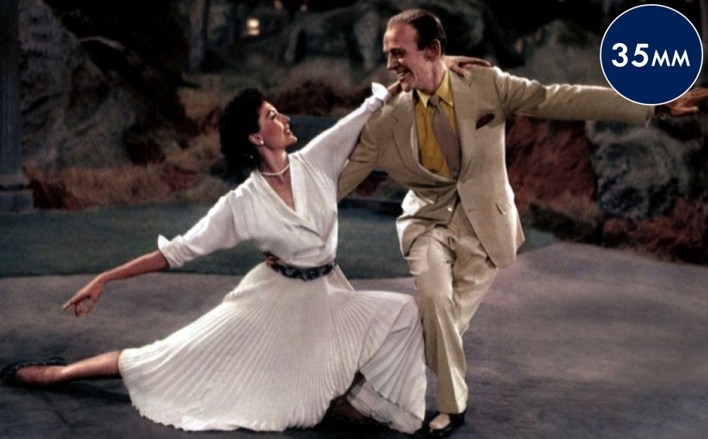 Actors Cyd Charisse and Fred Astaire dance together in Central Park.