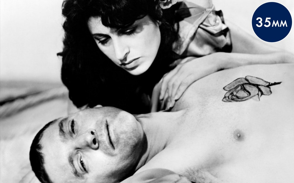 Actor Anna Magnani has her hand on Burt Lancaster's bare chest, on which there is a rose tattoo. Both are lying down.