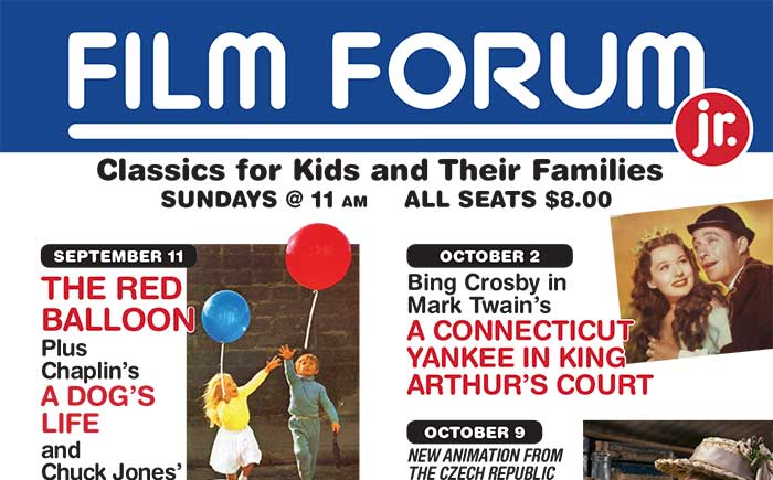 New Fall FILM FORUM Jr. Schedule Announced!
