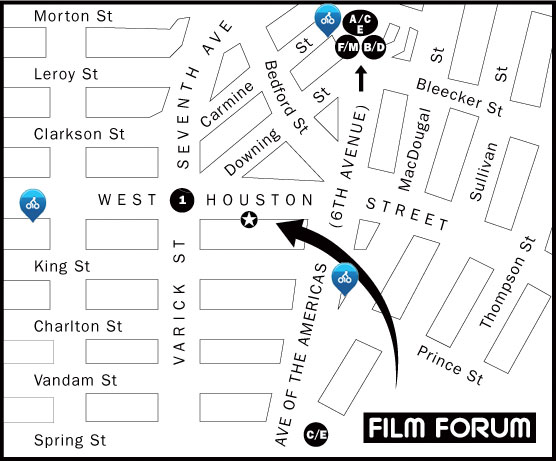 Map of the area around Film Forum with links for Citibike docks